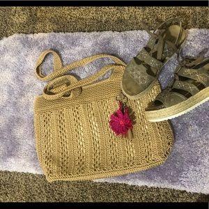 The sak golden crochet purse beachy boho nwot